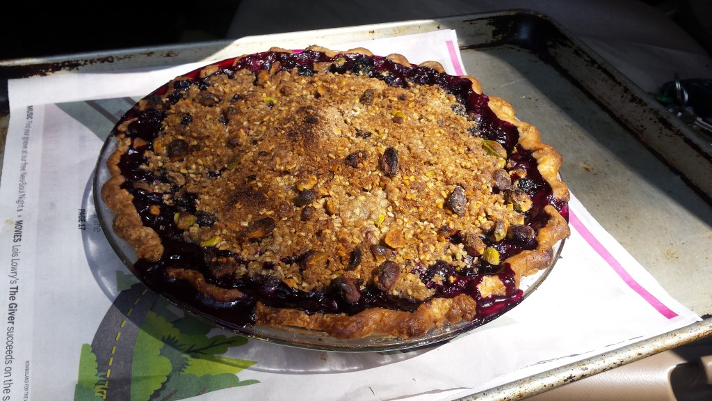 Warm blueberry & corn pie, ready for its ride home in the car. Smells so good!